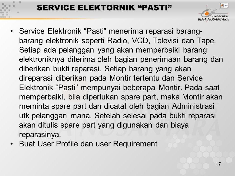 17 SERVICE ELEKTORNIK PASTI Service Elektronik Pasti menerima reparasi barang- barang elektronik seperti Radio, VCD, Televisi dan Tape.