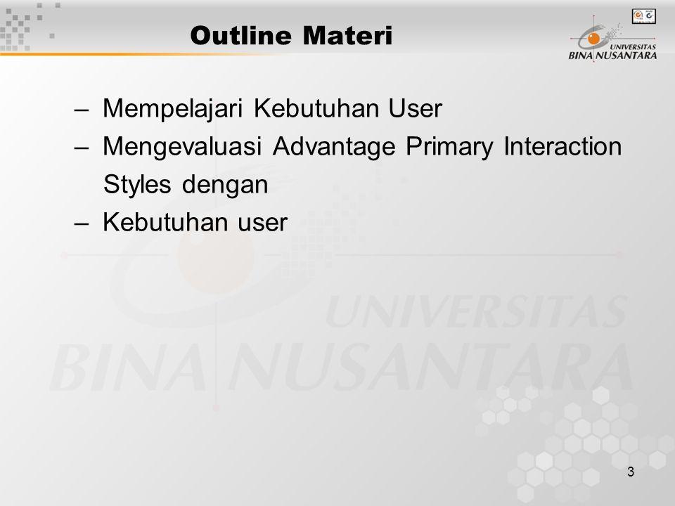 3 Outline Materi – Mempelajari Kebutuhan User – Mengevaluasi Advantage Primary Interaction Styles dengan – Kebutuhan user