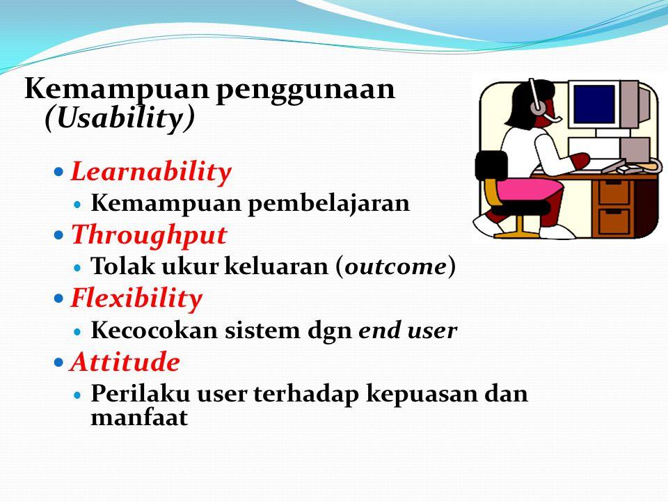 Kemampuan penggunaan (Usability) Learnability Kemampuan pembelajaran Throughput Tolak ukur keluaran (outcome) Flexibility Kecocokan sistem dgn end user Attitude Perilaku user terhadap kepuasan dan manfaat