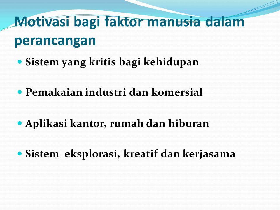 Motivasi bagi faktor manusia dalam perancangan Sistem yang kritis bagi kehidupan Pemakaian industri dan komersial Aplikasi kantor, rumah dan hiburan S