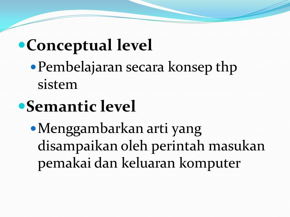 Conceptual level Pembelajaran secara konsep thp sistem Semantic level Menggambarkan arti yang disampaikan oleh perintah masukan pemakai dan keluaran komputer