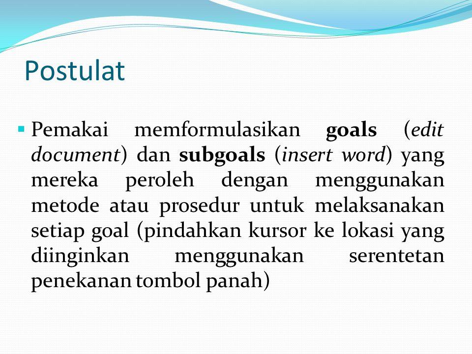 Postulat  Pemakai memformulasikan goals (edit document) dan subgoals (insert word) yang mereka peroleh dengan menggunakan metode atau prosedur untuk melaksanakan setiap goal (pindahkan kursor ke lokasi yang diinginkan menggunakan serentetan penekanan tombol panah)