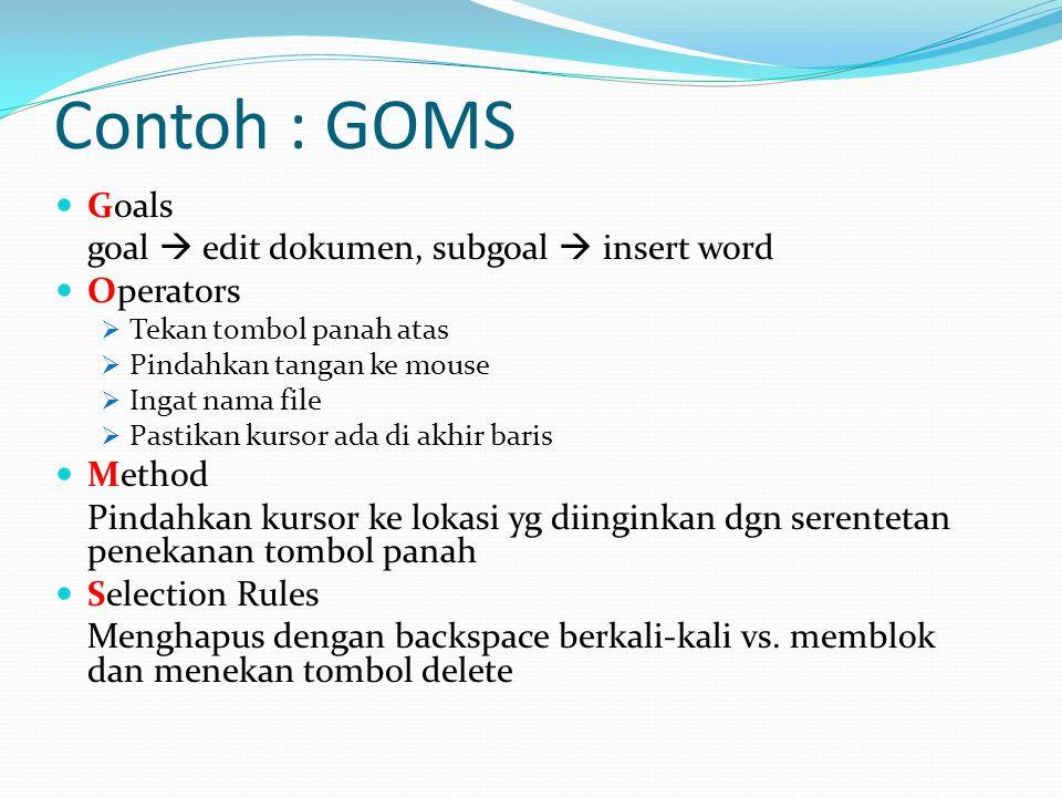 Contoh : GOMS Goals goal  edit dokumen, subgoal  insert word Operators  Tekan tombol panah atas  Pindahkan tangan ke mouse  Ingat nama file  Pas