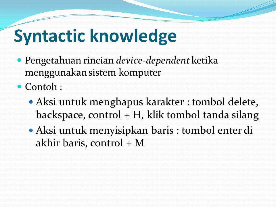 Syntactic knowledge Pengetahuan rincian device-dependent ketika menggunakan sistem komputer Contoh : Aksi untuk menghapus karakter : tombol delete, backspace, control + H, klik tombol tanda silang Aksi untuk menyisipkan baris : tombol enter di akhir baris, control + M