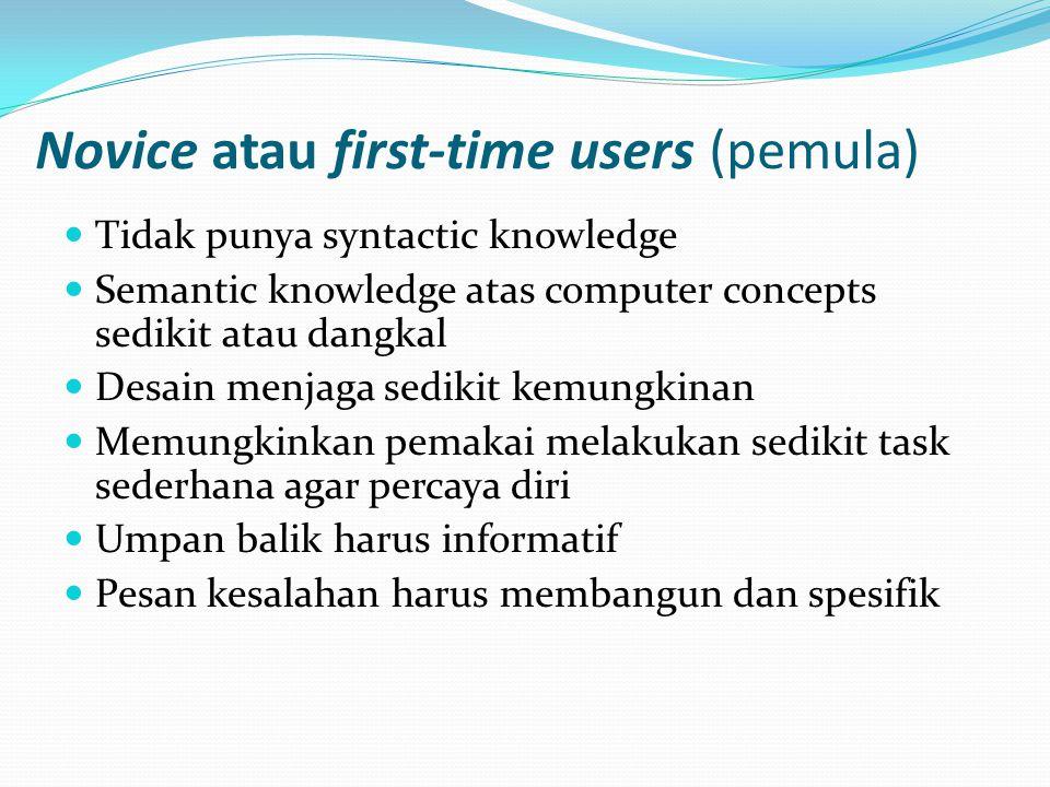 Novice atau first-time users (pemula) Tidak punya syntactic knowledge Semantic knowledge atas computer concepts sedikit atau dangkal Desain menjaga sedikit kemungkinan Memungkinkan pemakai melakukan sedikit task sederhana agar percaya diri Umpan balik harus informatif Pesan kesalahan harus membangun dan spesifik