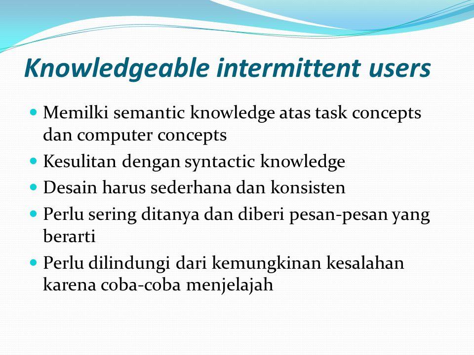 Knowledgeable intermittent users Memilki semantic knowledge atas task concepts dan computer concepts Kesulitan dengan syntactic knowledge Desain harus sederhana dan konsisten Perlu sering ditanya dan diberi pesan-pesan yang berarti Perlu dilindungi dari kemungkinan kesalahan karena coba-coba menjelajah