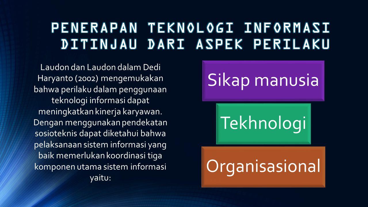 Laudon dan Laudon dalam Dedi Haryanto (2002) mengemukakan bahwa perilaku dalam penggunaan teknologi informasi dapat meningkatkan kinerja karyawan. Den