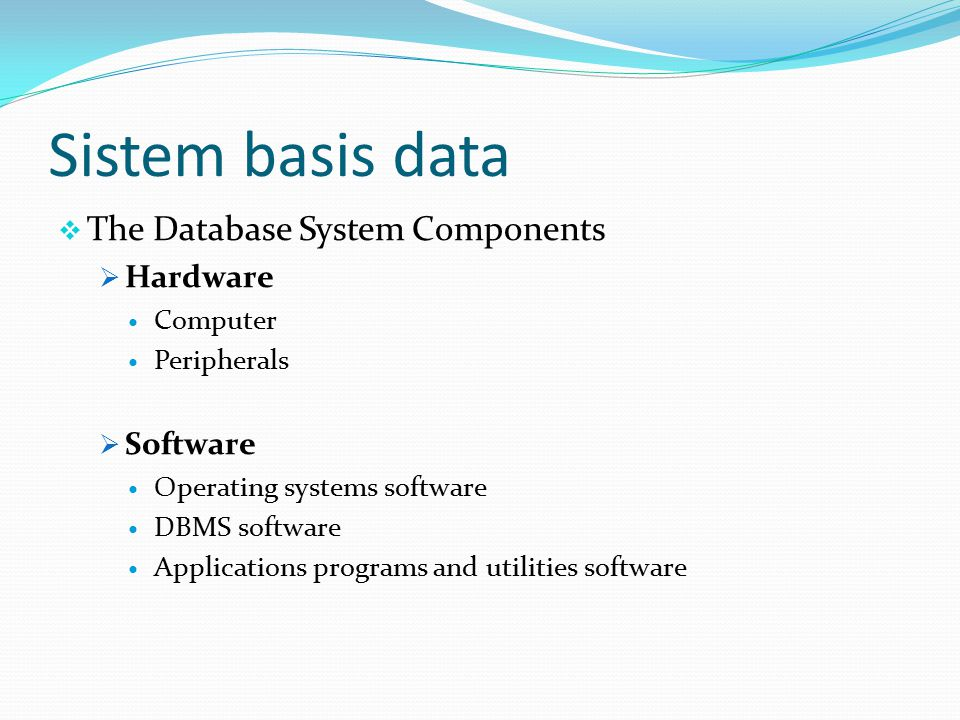  The Database System Components  Hardware Computer Peripherals  Software Operating systems software DBMS software Applications programs and utilities software