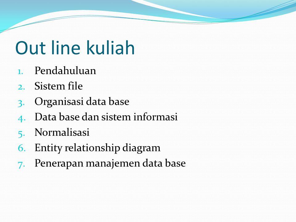 Out line kuliah 1. Pendahuluan 2. Sistem file 3. Organisasi data base 4. Data base dan sistem informasi 5. Normalisasi 6. Entity relationship diagram