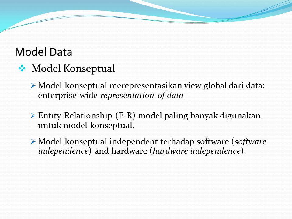 Model Data  Model Konseptual  Model konseptual merepresentasikan view global dari data; enterprise-wide representation of data  Entity-Relationship (E-R) model paling banyak digunakan untuk model konseptual.