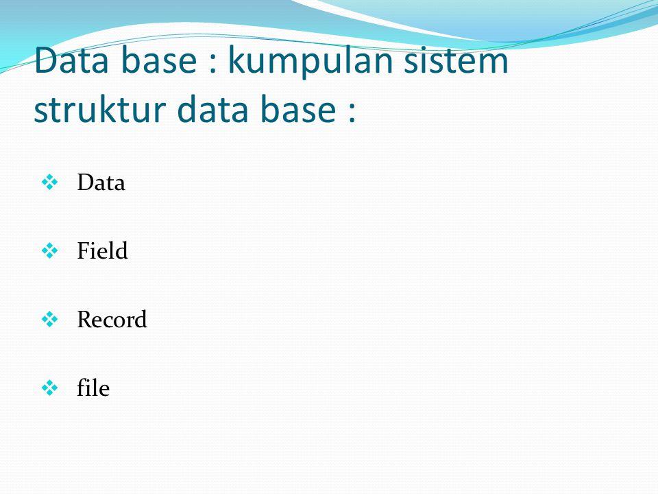 Data base : kumpulan sistem struktur data base :  Data  Field  Record  file