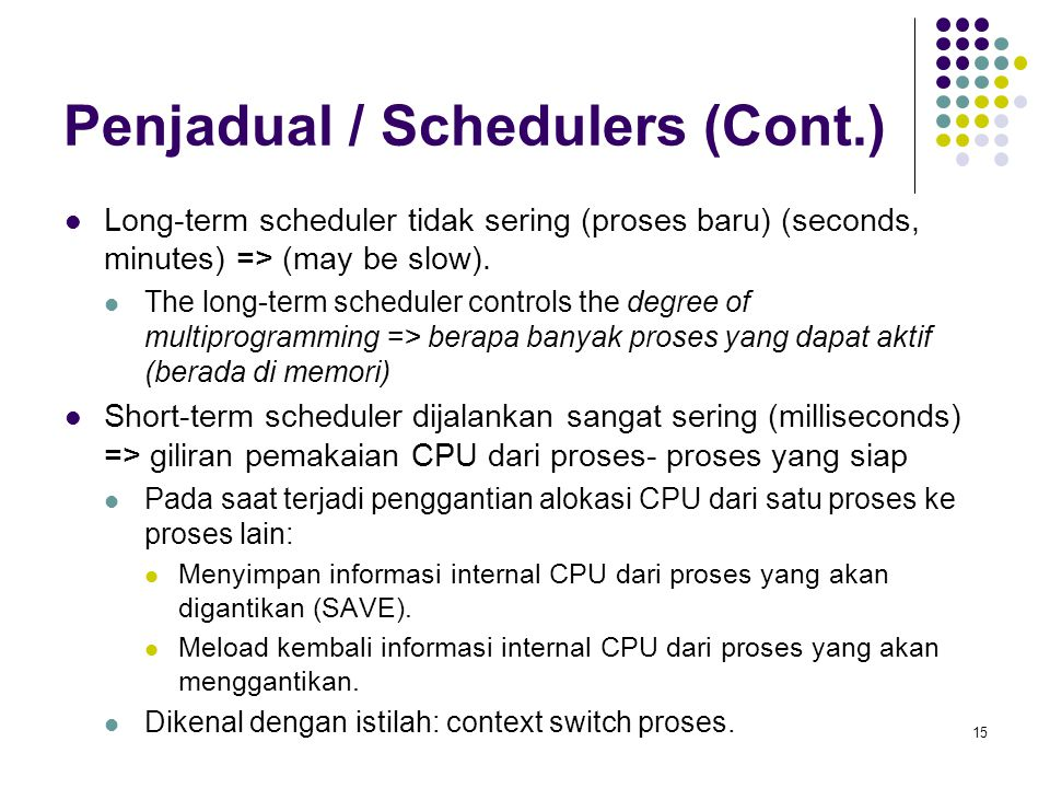 15 Penjadual / Schedulers (Cont.) Long-term scheduler tidak sering (proses baru) (seconds, minutes) => (may be slow). The long-term scheduler controls