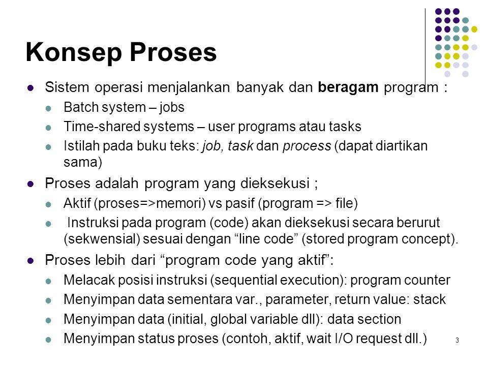 3 Konsep Proses Sistem operasi menjalankan banyak dan beragam program : Batch system – jobs Time-shared systems – user programs atau tasks Istilah pada buku teks: job, task dan process (dapat diartikan sama) Proses adalah program yang dieksekusi ; Aktif (proses=>memori) vs pasif (program => file) Instruksi pada program (code) akan dieksekusi secara berurut (sekwensial) sesuai dengan line code (stored program concept).