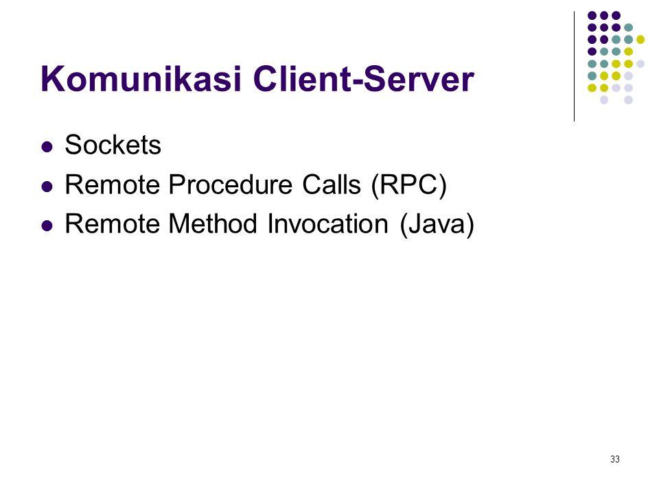 33 Komunikasi Client-Server Sockets Remote Procedure Calls (RPC) Remote Method Invocation (Java)