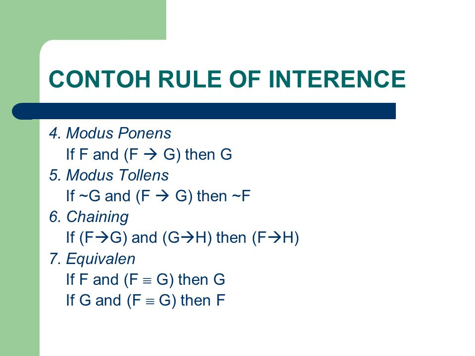 CONTOH RULE OF INTERENCE 4.Modus Ponens If F and (F  G) then G 5.
