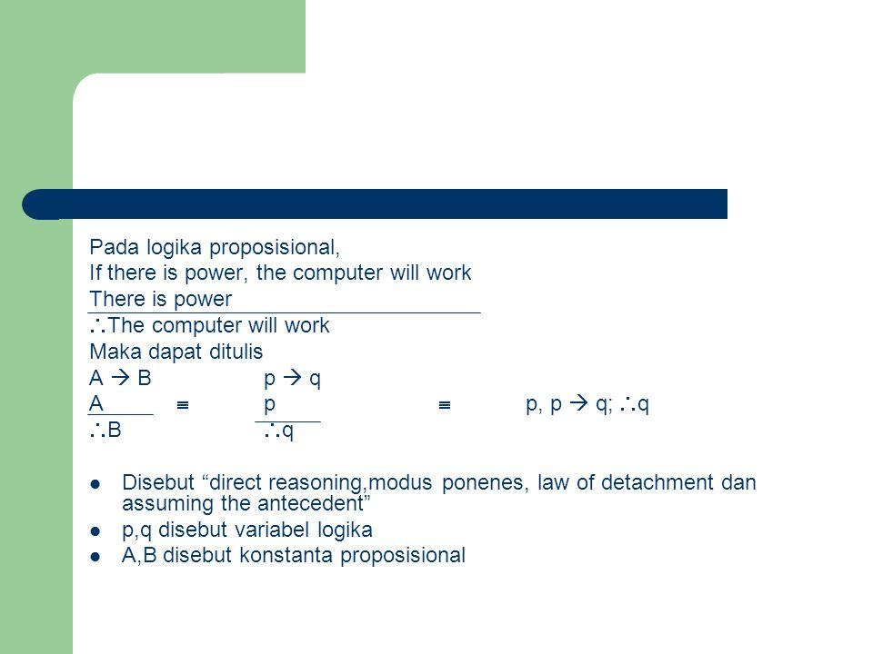 Pada logika proposisional, If there is power, the computer will work There is power  The computer will work Maka dapat ditulis A  Bp  q A  p  p,