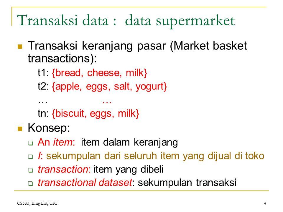 CS583, Bing Liu, UIC 5 Transaction data: a set of documents Dokumen text.