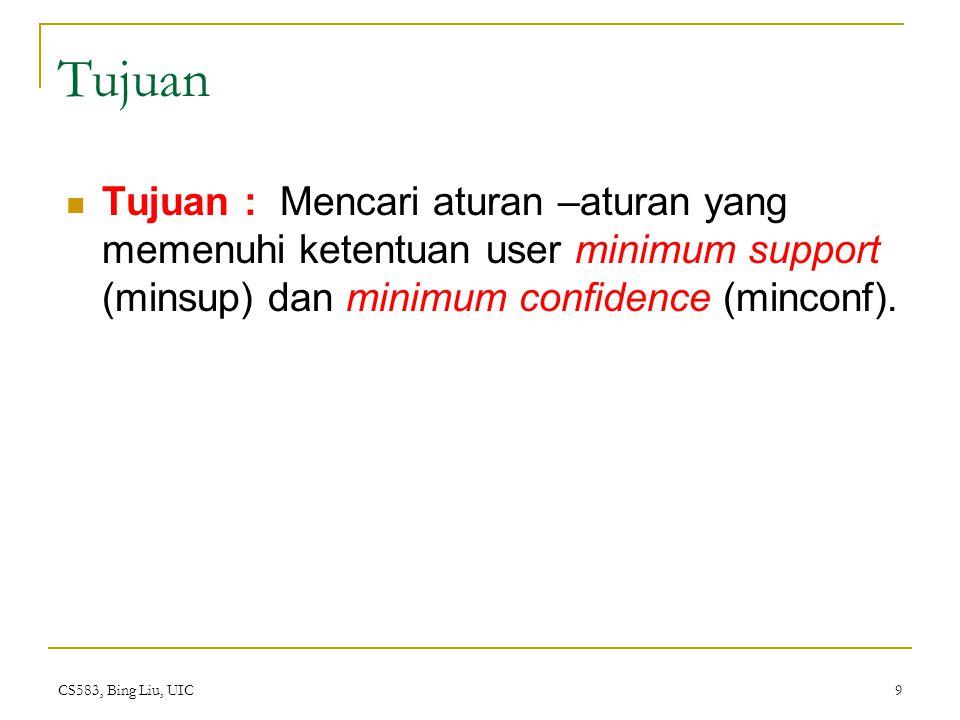 CS583, Bing Liu, UIC 9 Tujuan Tujuan : Mencari aturan –aturan yang memenuhi ketentuan user minimum support (minsup) dan minimum confidence (minconf).