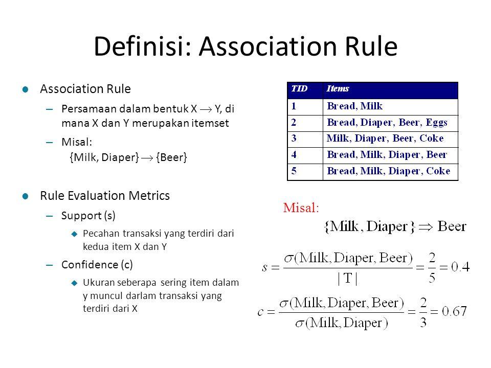 Definisi: Association Rule Misal: l Association Rule – Persamaan dalam bentuk X  Y, di mana X dan Y merupakan itemset – Misal: {Milk, Diaper}  {Beer} l Rule Evaluation Metrics – Support (s)  Pecahan transaksi yang terdiri dari kedua item X dan Y – Confidence (c)  Ukuran seberapa sering item dalam y muncul darlam transaksi yang terdiri dari X