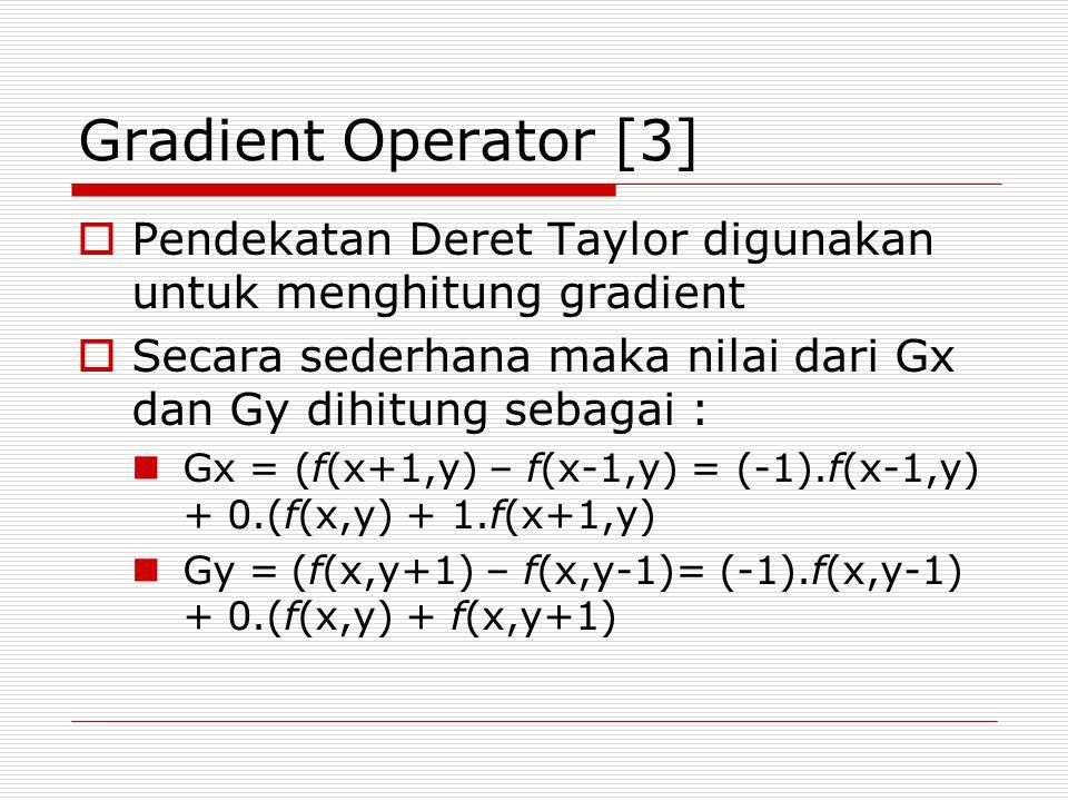 Gradient Operator [3]  Pendekatan Deret Taylor digunakan untuk menghitung gradient  Secara sederhana maka nilai dari Gx dan Gy dihitung sebagai : Gx