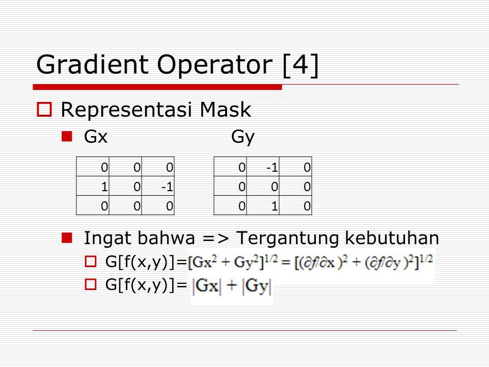 Gradient Operator [4]  Representasi Mask GxGy Ingat bahwa => Tergantung kebutuhan  G[f(x,y)]= 000 10 000 0 0 000 010