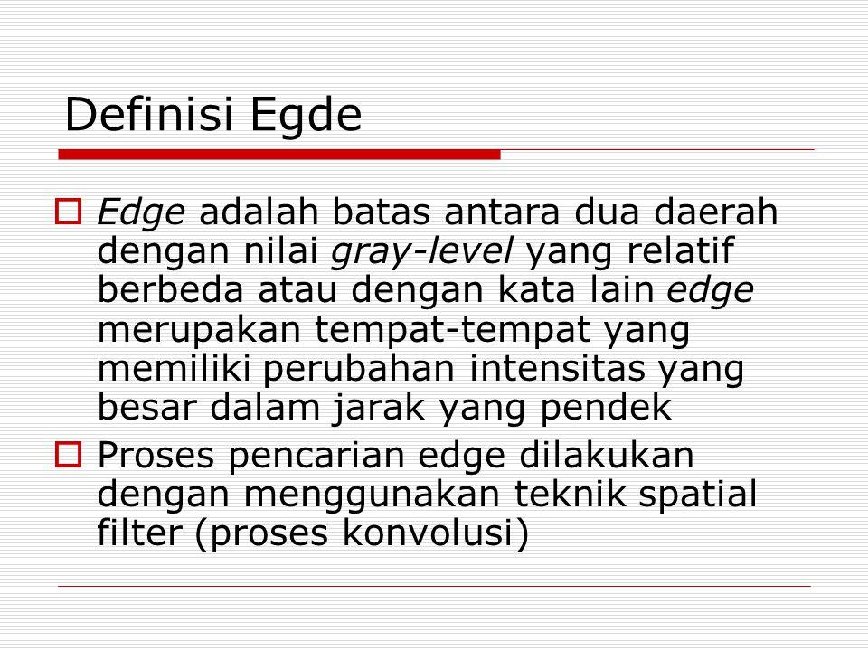 Definisi Egde  Edge adalah batas antara dua daerah dengan nilai gray-level yang relatif berbeda atau dengan kata lain edge merupakan tempat-tempat ya