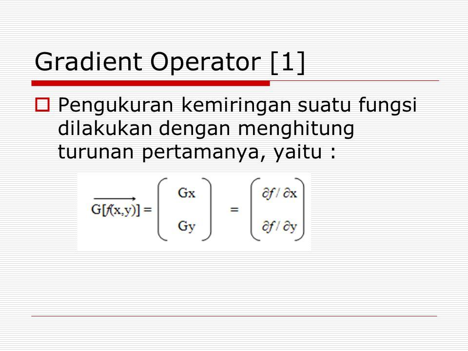 Turunan Kedua  Salah satu operator turunan kedua yang sering digunakan adalah Operator Laplace  Operator ini digunakan untuk menangani proses pendeteksian sisi pada jenis citra yang mempunyai tingkat perubahan warna yang kecil
