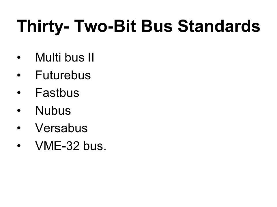 Thirty- Two-Bit Bus Standards Multi bus II Futurebus Fastbus Nubus Versabus VME-32 bus.