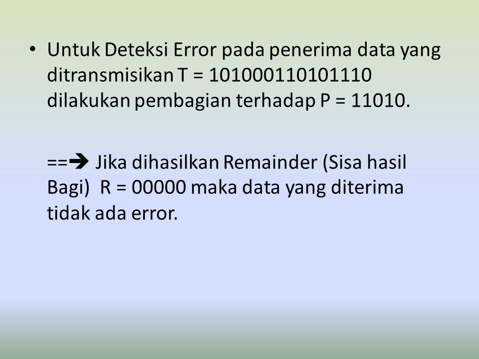 Untuk Deteksi Error pada penerima data yang ditransmisikan T = 101000110101110 dilakukan pembagian terhadap P = 11010. ==  Jika dihasilkan Remainder