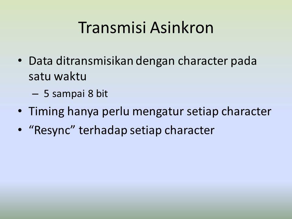 """Transmisi Asinkron Data ditransmisikan dengan character pada satu waktu – 5 sampai 8 bit Timing hanya perlu mengatur setiap character """"Resync"""" terhada"""