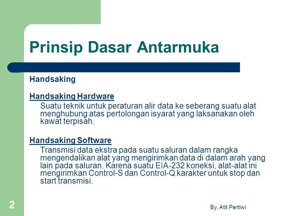 By. Atit Pertiwi 2 Prinsip Dasar Antarmuka Handsaking Handsaking Hardware Suatu teknik untuk peraturan alir data ke seberang suatu alat menghubung ata