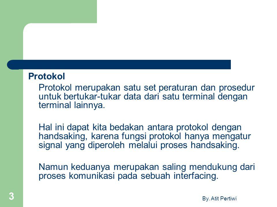 By. Atit Pertiwi 3 Protokol Protokol merupakan satu set peraturan dan prosedur untuk bertukar-tukar data dari satu terminal dengan terminal lainnya. H