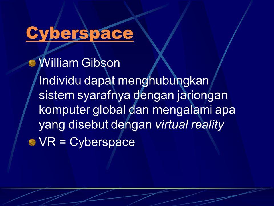 Cyberspace William Gibson Individu dapat menghubungkan sistem syarafnya dengan jariongan komputer global dan mengalami apa yang disebut dengan virtual