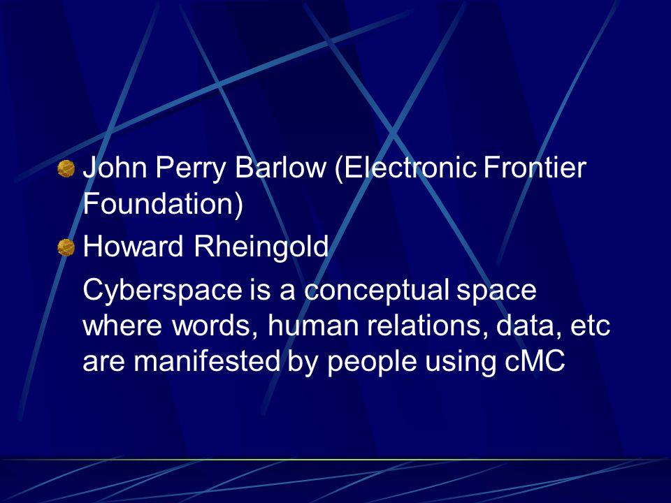 So… Cyberspace adalah konteks dimana CMC berlangsung
