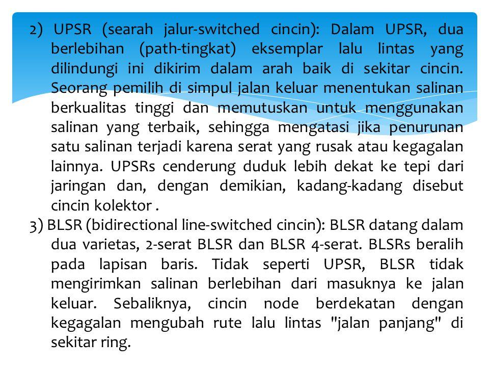 2) UPSR (searah jalur-switched cincin): Dalam UPSR, dua berlebihan (path-tingkat) eksemplar lalu lintas yang dilindungi ini dikirim dalam arah baik di sekitar cincin.