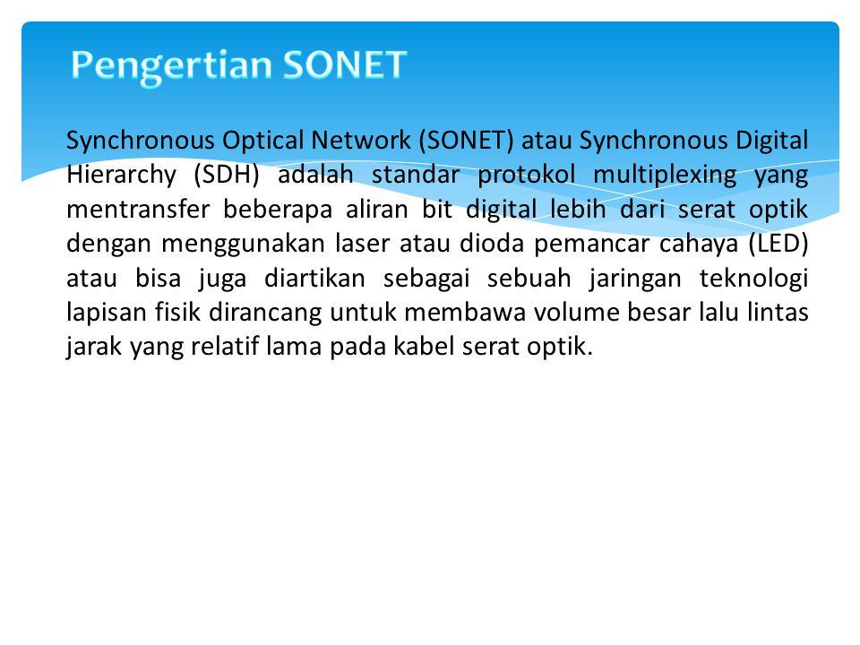 Definisi antara Sonet dan SDH 1)Synchronous Digital Hierarchy (SDH) standar pada awalnya didefinisikan oleh ETSI atau Eropa Standards Institute Telekomunikasi 2)Synchronous Optical Networking (SONET) standar seperti yang didefinisikan oleh GR-253-CORE dari Telcordia dan T1.105 dari American National Standards Institute