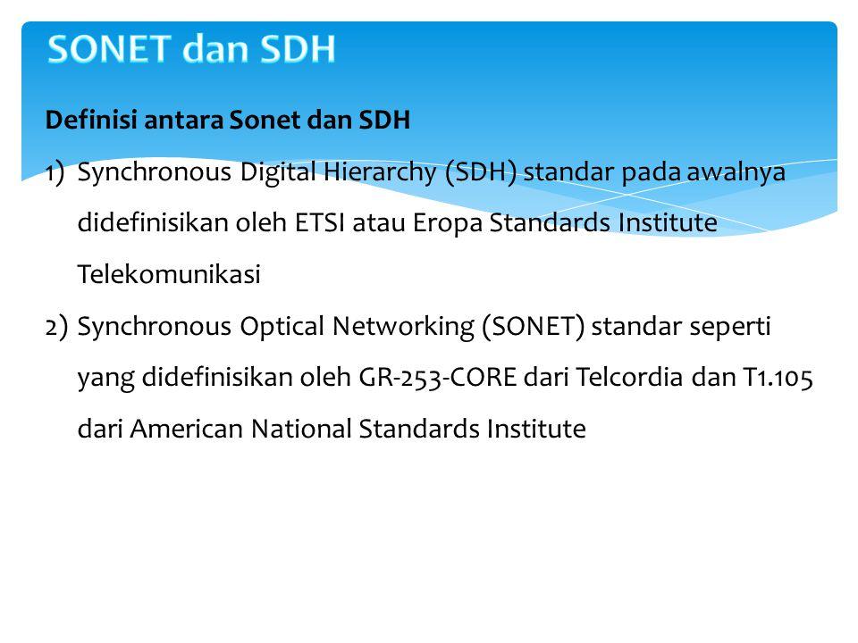 Definisi antara Sonet dan SDH 1)Synchronous Digital Hierarchy (SDH) standar pada awalnya didefinisikan oleh ETSI atau Eropa Standards Institute Teleko