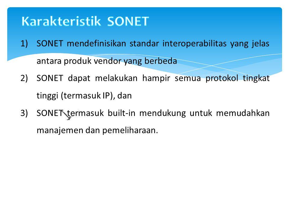 1)SONET mendefinisikan standar interoperabilitas yang jelas antara produk vendor yang berbeda 2)SONET dapat melakukan hampir semua protokol tingkat ti