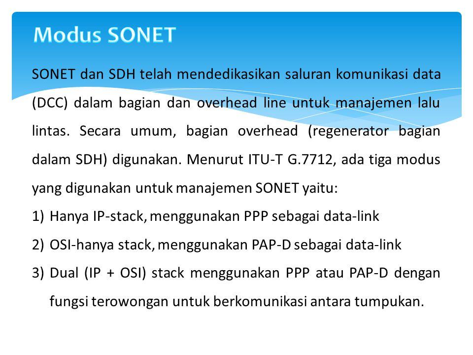 SONET dan SDH telah mendedikasikan saluran komunikasi data (DCC) dalam bagian dan overhead line untuk manajemen lalu lintas. Secara umum, bagian overh