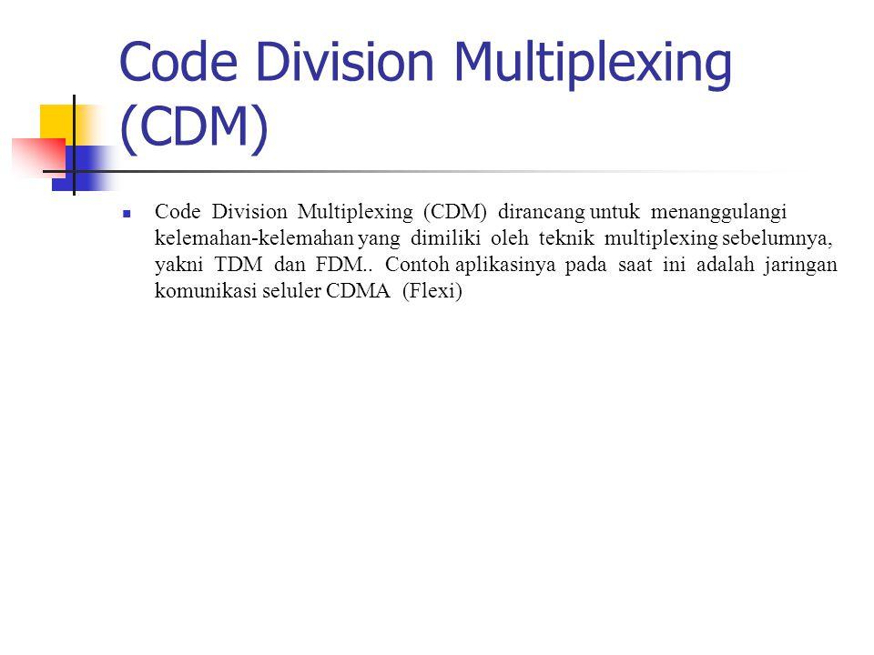 Code Division Multiplexing (CDM) Code Division Multiplexing (CDM) dirancang untuk menanggulangi kelemahan-kelemahan yang dimiliki oleh teknik multiple