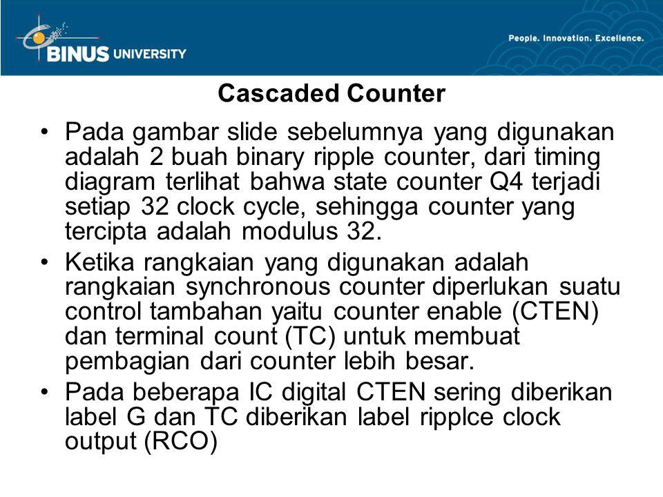 Pada gambar slide sebelumnya yang digunakan adalah 2 buah binary ripple counter, dari timing diagram terlihat bahwa state counter Q4 terjadi setiap 32