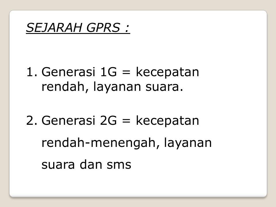 SEJARAH GPRS : 1.Generasi 1G = kecepatan rendah, layanan suara.