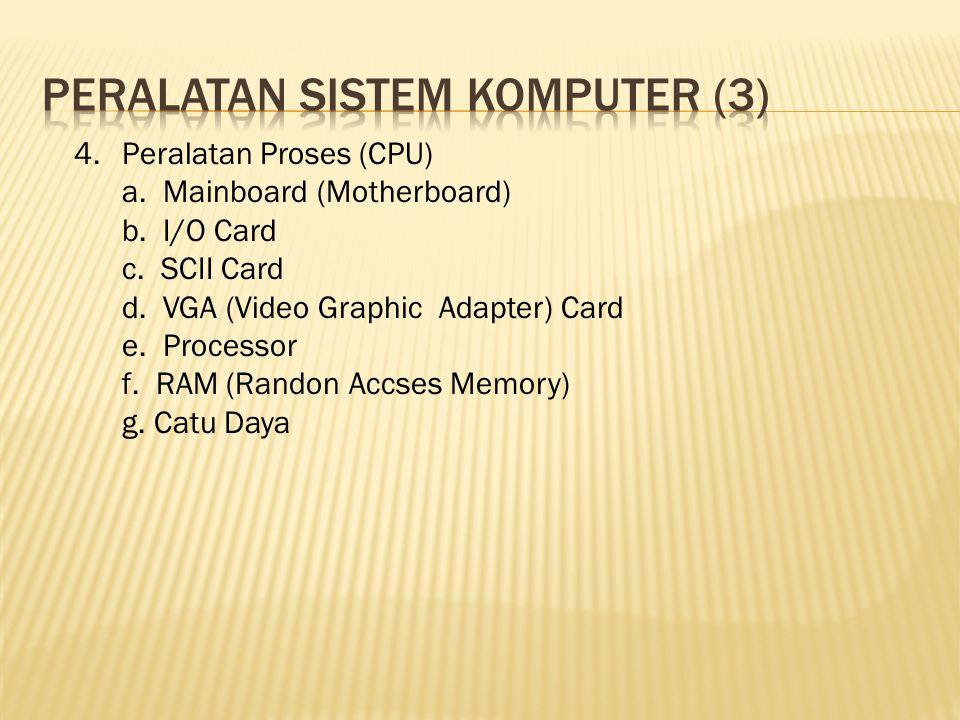 4.Peralatan Proses (CPU) a. Mainboard (Motherboard) b. I/O Card c. SCII Card d. VGA (Video Graphic Adapter) Card e. Processor f. RAM (Randon Accses Me