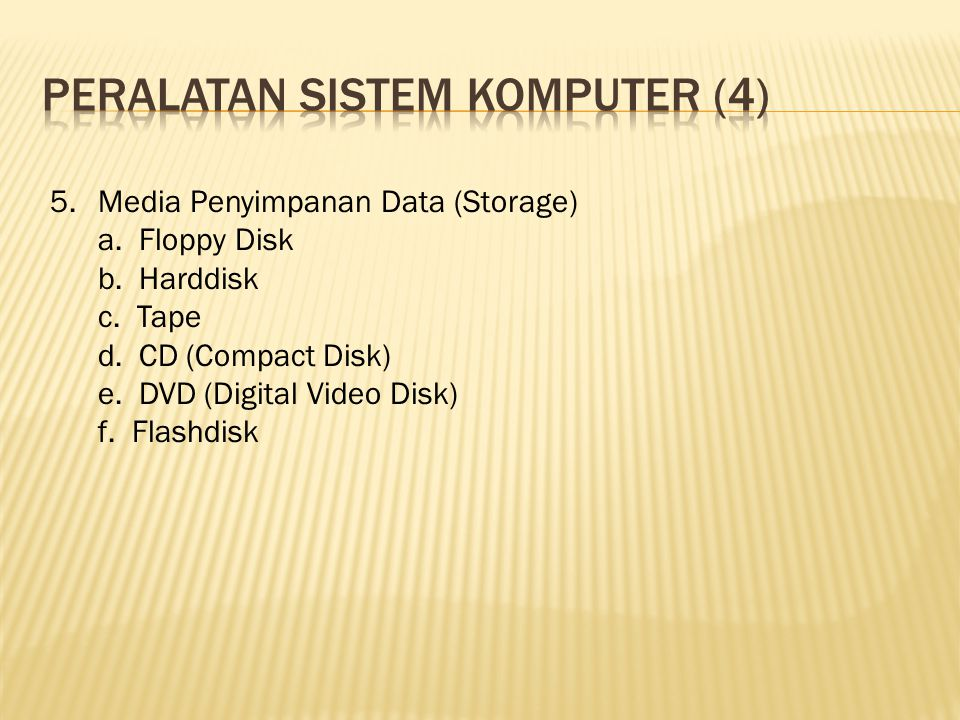 5.Media Penyimpanan Data (Storage) a. Floppy Disk b.