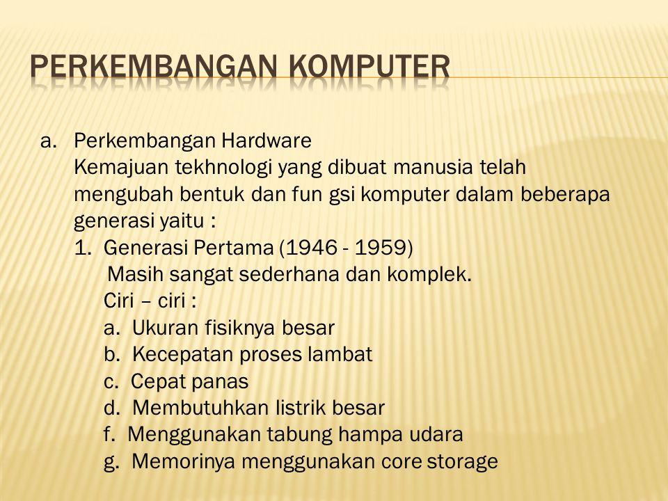 a.Perkembangan Hardware Kemajuan tekhnologi yang dibuat manusia telah mengubah bentuk dan fun gsi komputer dalam beberapa generasi yaitu : 1. Generasi