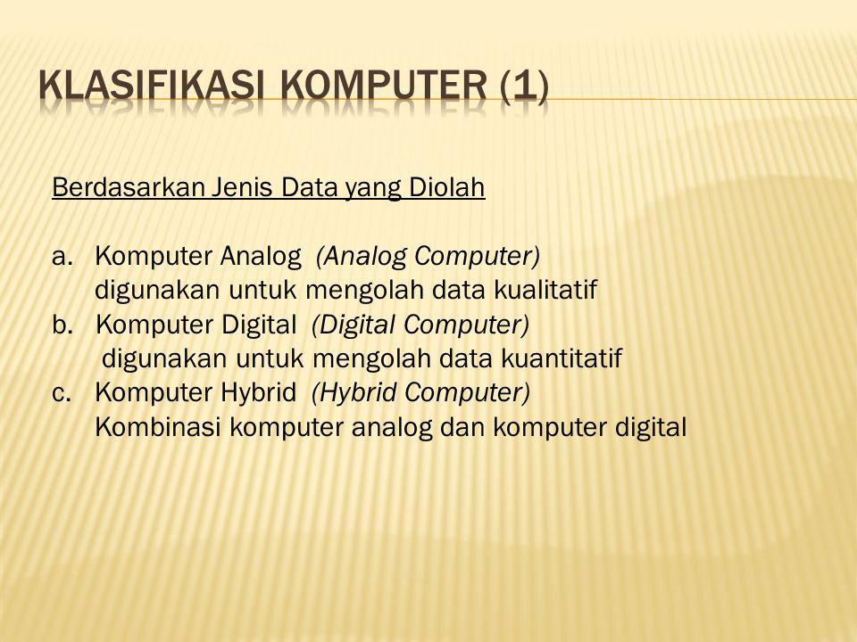 Berdasarkan Jenis Data yang Diolah a.Komputer Analog (Analog Computer) digunakan untuk mengolah data kualitatif b. Komputer Digital (Digital Computer)