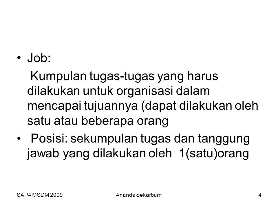 SAP4 MSDM 2009 Job: Kumpulan tugas-tugas yang harus dilakukan untuk organisasi dalam mencapai tujuannya (dapat dilakukan oleh satu atau beberapa orang Posisi: sekumpulan tugas dan tanggung jawab yang dilakukan oleh 1(satu)orang 4Ananda Sekarbumi