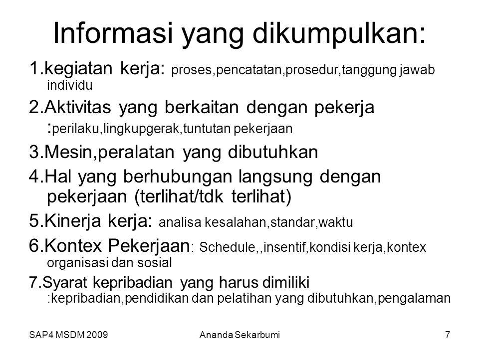 SAP4 MSDM 2009 Informasi yang dikumpulkan: 1.kegiatan kerja: proses,pencatatan,prosedur,tanggung jawab individu 2.Aktivitas yang berkaitan dengan pekerja : perilaku,lingkupgerak,tuntutan pekerjaan 3.Mesin,peralatan yang dibutuhkan 4.Hal yang berhubungan langsung dengan pekerjaan (terlihat/tdk terlihat) 5.Kinerja kerja: analisa kesalahan,standar,waktu 6.Kontex Pekerjaan : Schedule,,insentif,kondisi kerja,kontex organisasi dan sosial 7.Syarat kepribadian yang harus dimiliki :kepribadian,pendidikan dan pelatihan yang dibutuhkan,pengalaman 7Ananda Sekarbumi