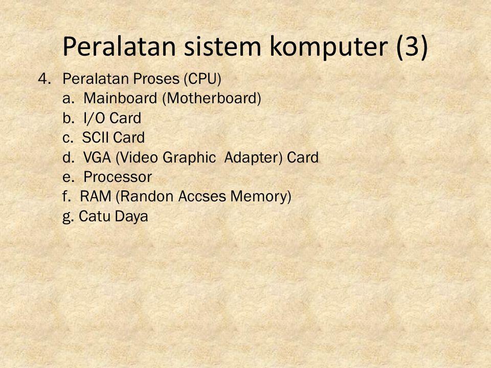 Peralatan sistem komputer (4) 5.Media Penyimpanan Data (Storage) a.