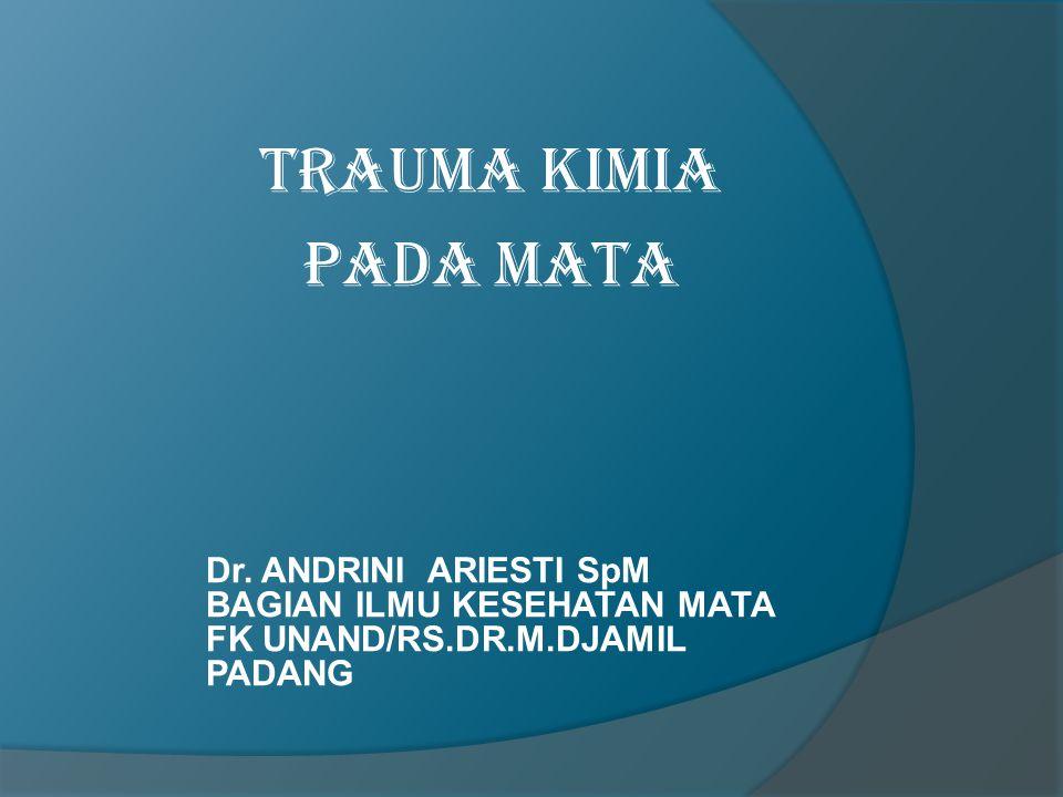 TRAUMA KIMIA PADA MATA Dr. ANDRINI ARIESTI SpM BAGIAN ILMU KESEHATAN MATA FK UNAND/RS.DR.M.DJAMIL PADANG